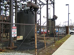 Railroad electrification in the United States - Original 1930s autotransformer equipment installed by the Reading Railroad in Lansdale, Pennsylvania.