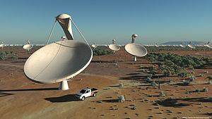 Square Kilometre Array - Artist's impression of the Offset Gregorian Antennas