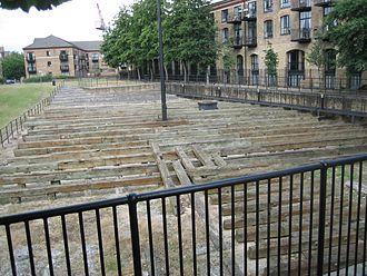 Millwall - Some of the concrete and timber sub-structure of Great Eastern's launch ramp.
