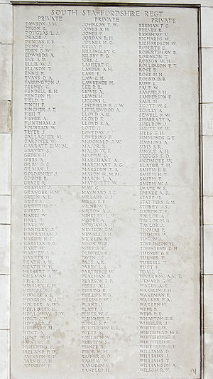 South Staffordshire Regiment - List of casualties from the Regiment during the First World War at Tyne Cot