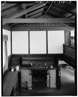 STAIR HALL, LOOKING EAST FROM SECOND FLOOR - H. P. Dyer House, 16055 Sanborn Road, Saratoga, Santa Clara County, CA HABS CAL,43-SARA,4-7.tif