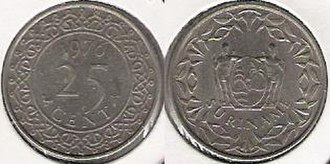 Surinamese guilder - Coin of 25 cents from 1976