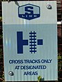 S Line crossing sign, Sugar House, Salt Lake City, Utah, Oct 16.jpg