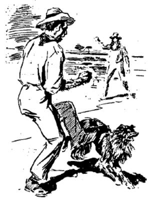 "Saltbush Bill's Second Fight - Illustration from original publication of ""Saltbush Bill's Second Fight"" - The tramp kicks Bill's dog"
