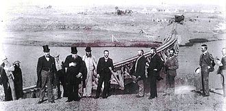 Sammy Marks - President Reitz of the Free State and President Kruger of the ZAR on the occasion of the joining of the Transvaal and Free State by railway, 21 May 1892. Sammy Marks stands fifth from the right.