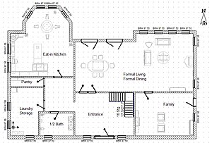 A sample floor plan for a single-family home