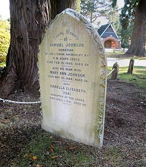 Samuel Johnson (comedian) - The grave of Samuel Johnson at Brookwood Cemetery