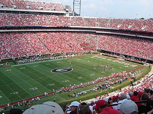 This image shows Sanford Stadium at the Univer...