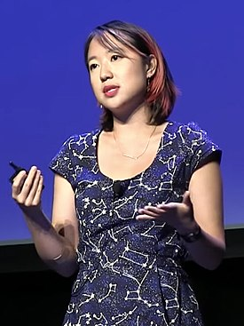 Photograph of Sarah Jeong speaking at the XOXO Festival in 2016