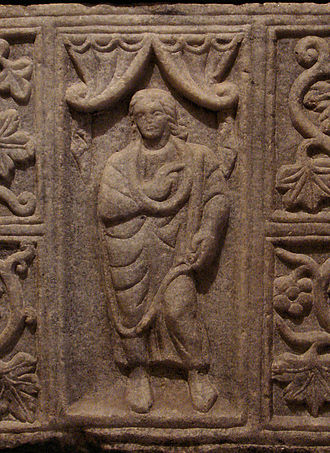 Hérault - Early depiction of Jesus Christ on a sarcophagus, Hérault, France, 6th century. Louvre Museum.