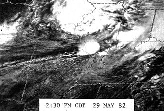 Marion, Illinois tornado outbreak - Satellite photo of the clouds that produced the storm.