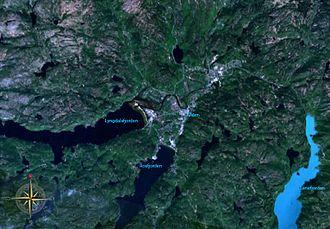 Lyngdal - Satellite view of Lyngdal