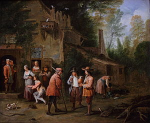 Peter Angelis - Scene in a court of inn, 1724, now in the Rennes Fine Arts Museum