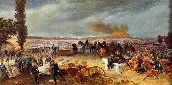 Scene from the decisive battle of Königgrätz;  by Georg Bleibtreu