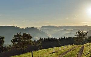 Natural regions of the Black Forest - Morgendunst über Berggipfel des Mittelschwarzwaldes bei Schonach