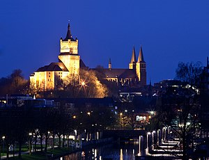 Kleve - Night view of Schwanenburg and Stiftkirche