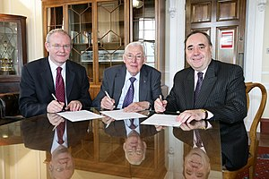 First Minister and deputy First Minister - Alex Salmond (right) meets Ian Paisley (centre) and Martin McGuinness in 2008.