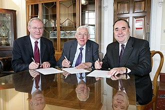First Minister Ian Paisley (DUP) centre, and deputy First Minister Martin McGuinness (Sinn Fein) left, and Scottish First Minister Alex Salmond right in 2008 Scottish and Northern Ireland Ministers.jpg