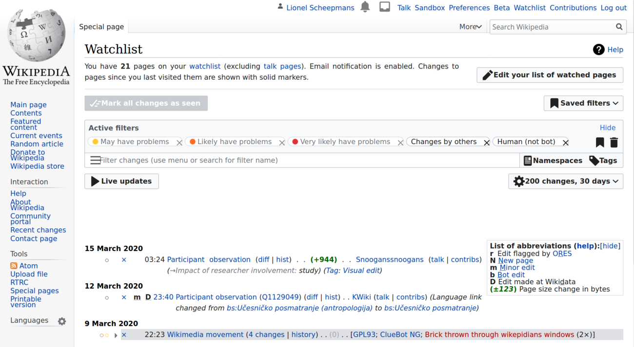 Screenshot of the Wikipedia user tracking page.