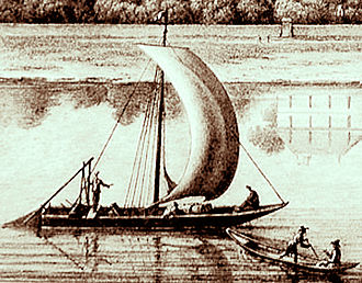 Galiot - A galiote, or scute, transporting wine on a French river during the 18th century