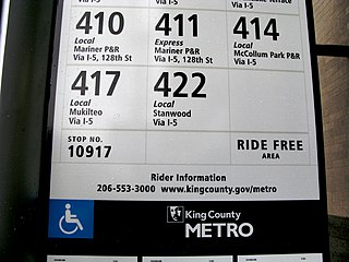 King County Metro bus stop sign