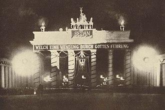 Sedantag - Illuminated Brandenburg Gate on Sedantag in 1898