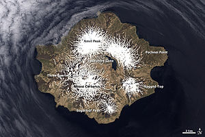 Semisopochnoi Island - Satellite photo showing the Seven Mountains of Semisopochnoi