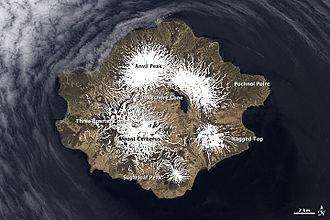 Semisopochnoi Island - Satellite photo showing the Seven Mountains of Semisopochnoi