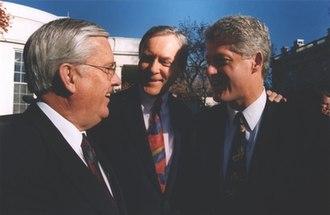 M. Russell Ballard - Ballard with President Bill Clinton and United States Senator Orrin Hatch in 1993