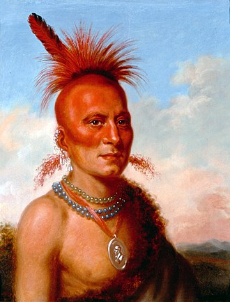 Roach (headdress) - 1822 portrait of Sharitahrish, Pawnee chief