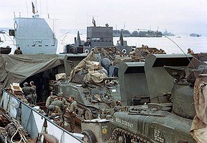 Operation Overlord - US Army M4 Sherman tanks loaded in a landing craft tank (LCT), ready for the invasion of France, c. late May or early June 1944