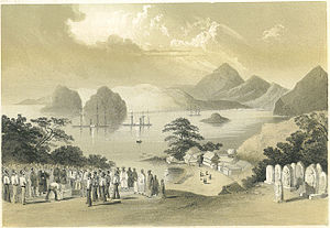"The Barbarian and the Geisha - Lithograph of ""Shimoda as seen from the American Grave Yard"" looking towards the harbor – artist, Wilhelm Heine (1856)."