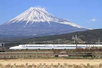 High-speed rail - The Tōkaidō Shinkansen high-speed line in Japan, with Mount Fuji in the background. The Tokaido Shinkansen was the world's first high-speed rail line.