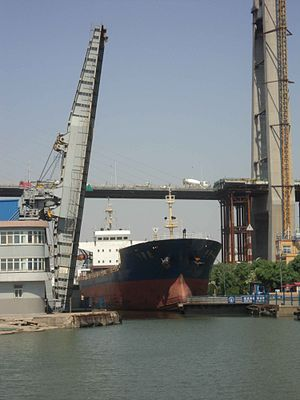 Port of Tianjin - A ship passing from the Haihe into the Xingang seaport through the Xingang Shiplock