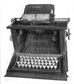 Prototype of the Sholes and Glidden typewriter, the first commercially successful typewriter, and the first with a QWERTY keyboard (1873) Sholes typewriter.jpg