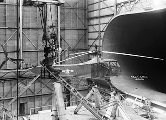Sikorsky R-4 - In this image taken in 1944, one of Langley Research Center's Sikorsky YR-4B/HNS-1 helicopters is seen in the 30 × 60 full-scale tunnel.