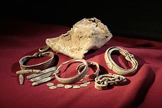 Silverdale Hoard - Items from the hoard including the lead container