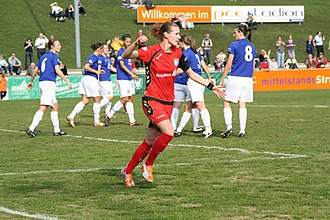 Everton L.F.C. - Laudehr of Duisburg scores against Everton in the Champions League