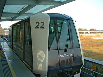 Rail transport in Singapore - A Crystal Mover on the Punggol LRT system at Punggol Station in Singapore