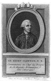 A cartouched black-and-white portrait of General Henry Clinton from the chest up in uniform