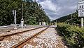 """Sitzendorf Bahnübergang Gleis Bestandteil der Sachgesamtheit """"Eisenbahnstrecke Oberweißbacher Berg- und Schwarzatalbahn"""" 5.jpg"""