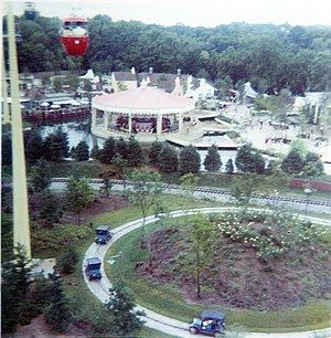 "Opryland USA - View from the Skyride circa 1975. The ""Tin Lizzie"" old-timey car ride is visible. ""The Hangman"" roller coaster was built on this site in 1995."