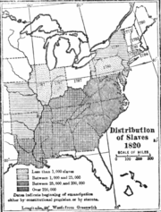 Distribution of slaves in 1820