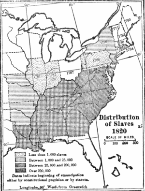USA distribution of slaves 1820