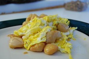 Smoked scallop - Smoked scallops and eggs