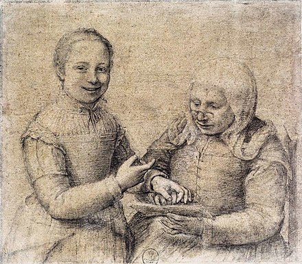 Sofonisba Anguissola - Old Woman Studying the Alphabet with a Laughing Girl - WGA00699.jpg