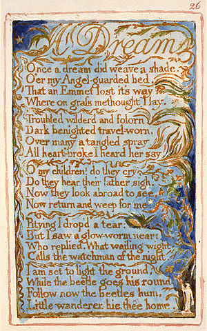 A Dream (Blake) - Image: Songs of Innocence and of Experience, copy AA, 1826 (The Fitzwilliam Museum) object 26 Dream