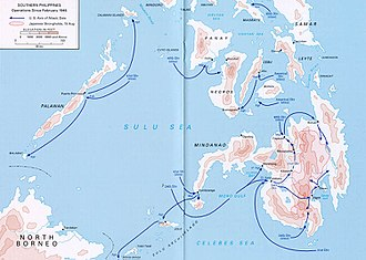 Battle of the Visayas - Map of U.S. operations in Southern Philippines, 1945