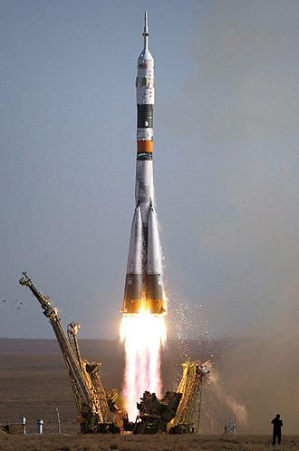 Soyuz (rocket family) - A Soyuz-FG rocket carrying a Soyuz TMA spacecraft launches from Baikonur Cosmodrome, Kazakhstan on 18 September 2006.