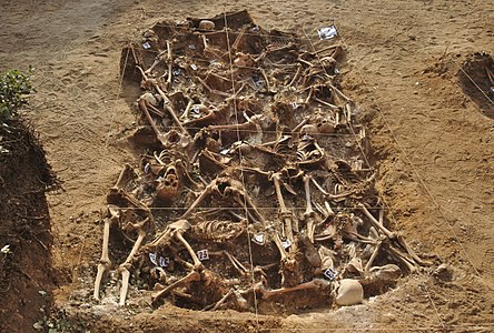 About 30 assassinated people in a mass grave. They were killed in August-September 1936, at the beginning of the Spanish Civil War in Estépar (Burgos), northern Spain. They were presumably republicans.
